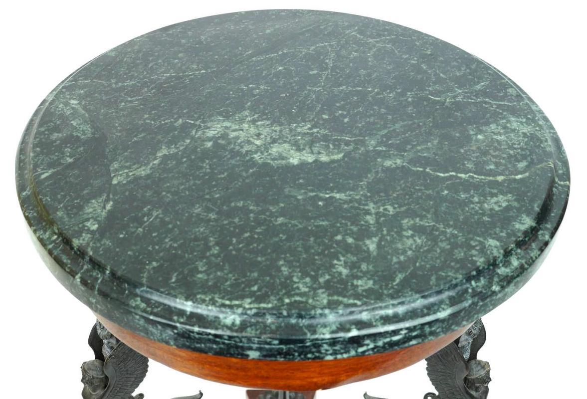 Antique Neopolitan Neoclassical Greek Revival Bronze and Marble Gueridon Side Table from Sabatino de Angelis