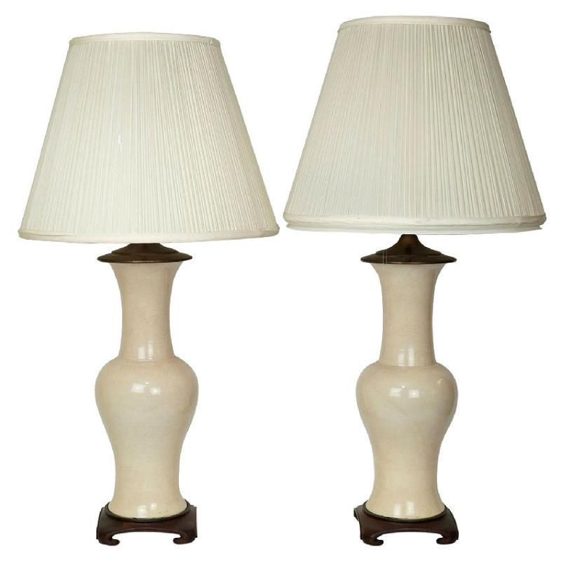 Pair Vintage Chinese Oriental Style Cream Eggshell Ceramic Table Lamps