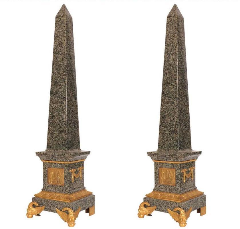 Pair Roman Neoclassical Gilt Bronze Mounted Granite Obelisks