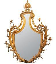 Antique Louis XV Style Gilt Bronze Girandole Mirror