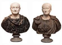 Pair Antique Grand Tour Italian Roman Emperor Marble Busts Sculptures