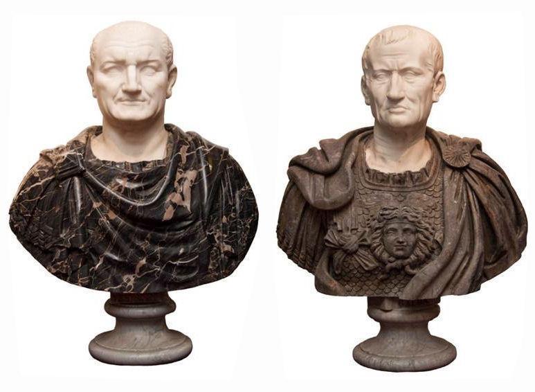 Pair Antique Grand Tour Italian Roman Emperor Marble Busts Sculptures