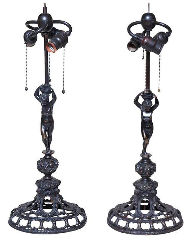 Pair Antique Renaissance Revival Bronze Table Lamps