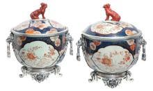 Pair Antique Chinese Imari Porcelain & Bronze Mounted Urns
