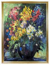 1968 EMERIC Impressionist Floral Still Life Oil Painting by Emeric