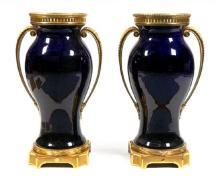 Pair of Sevres Palace Size Neoclassical Cobalt Blue Vases with Gilt Bronze Mounts