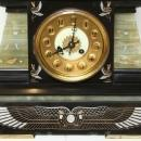 Antique French Empire Egyptian Revival Style Mantel Clock Garniture