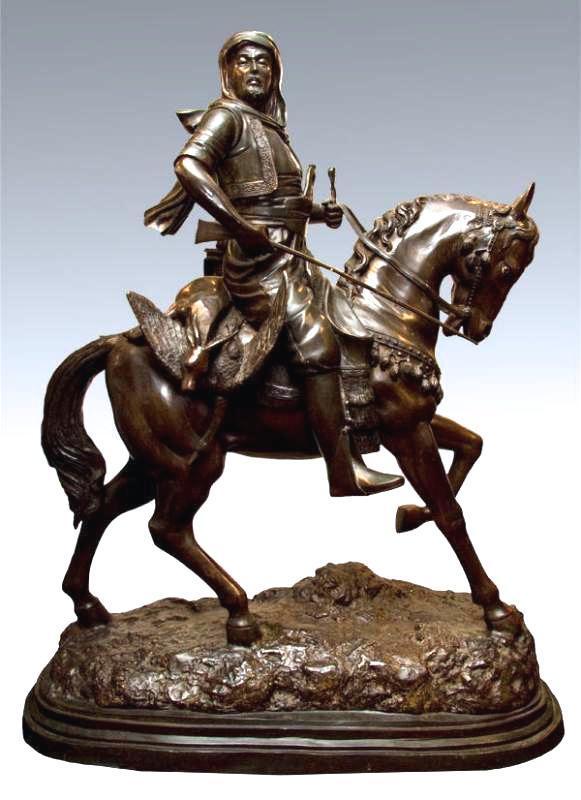 Large Orientalist Arab Hunter Bronze Sculpture After Guillemin & Barye
