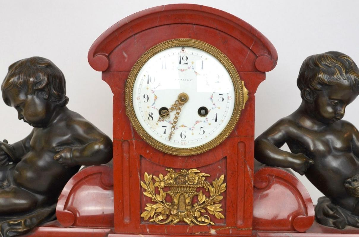 Antique Tiffany and Co. Rouge Marble Mantel Clock