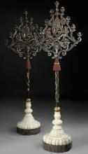 Pair of Renaissance Style Polychrome Metal Floor Candelabra By E.F. Caldwell