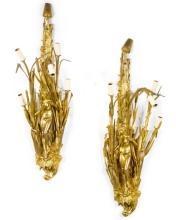 Pair Belle Epoque Art Nouveau Period Gilt Bronze Figural Sconces