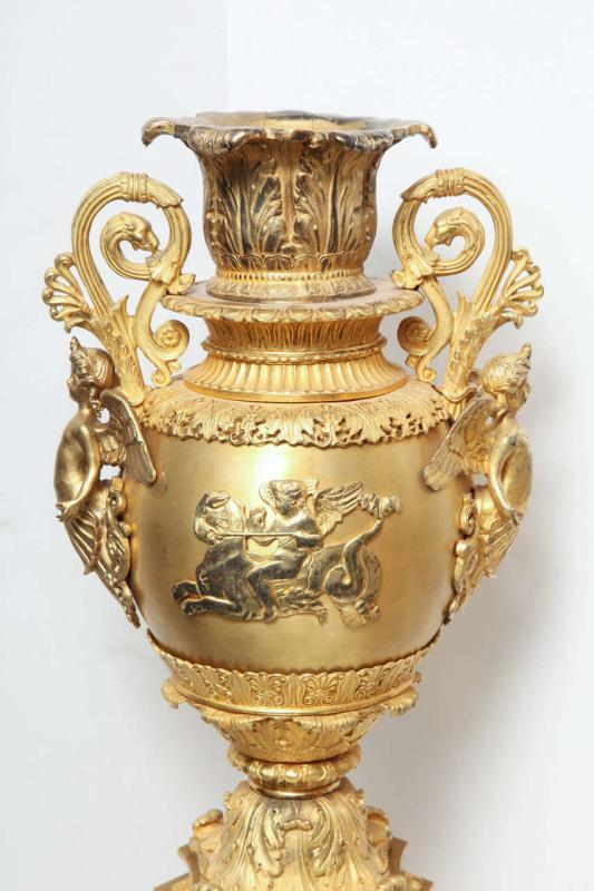 Pair French Restauration ( Empire ) Style Gilt Bronze Centerpiece Vases
