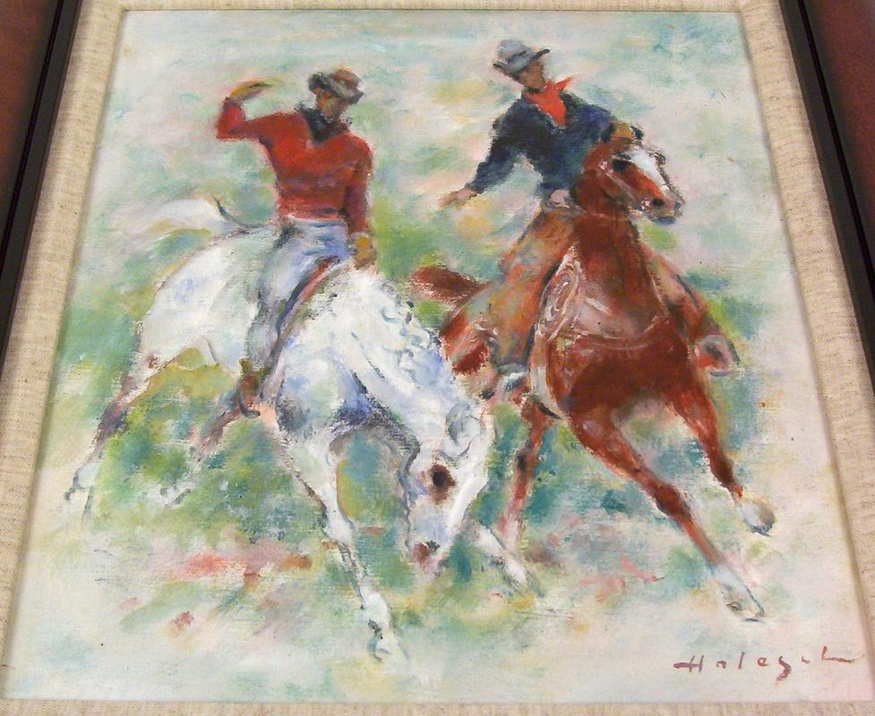 American Rodeo Horses Oil Painting by Denes de Holesch