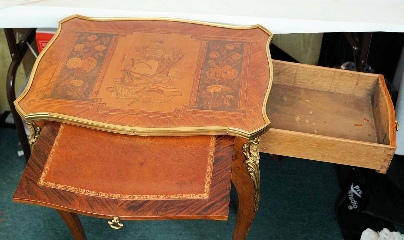 Antique French Louis XV Style Marquestry Inlaid Writing Table