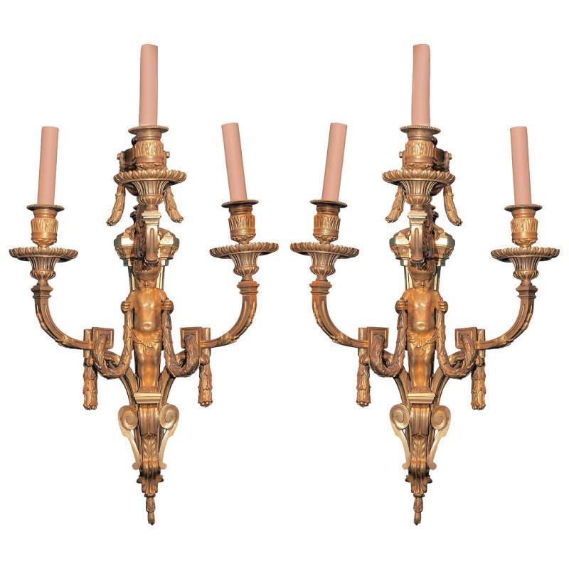Pair Louis XVI Style Gilt Bronze Sconces