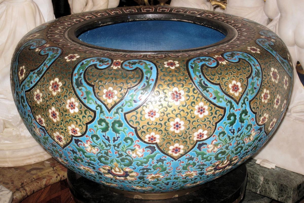 Monumental Glazed Earthenware Jardiniere Attributed to Longwy
