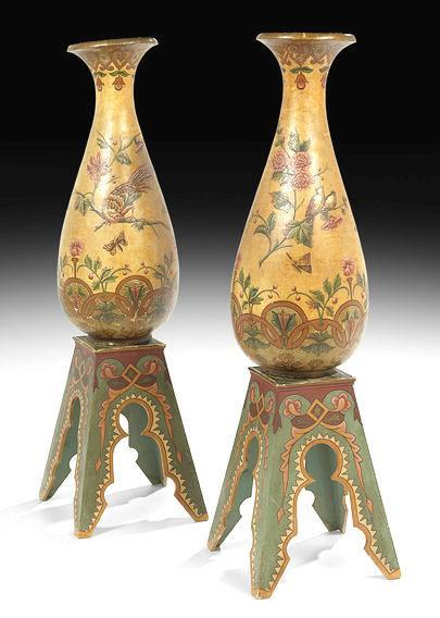 Pair of Palatial Aesthetic Terracotta Vases and Stands