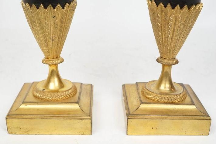Antique French Restauration Period Gilt Bronze Ewers