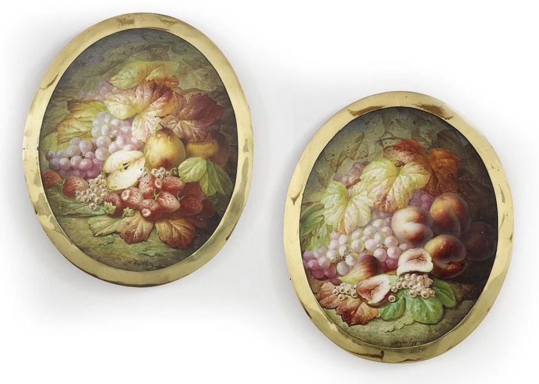 Pair French Fruit and Floral Still Life Paintings on Porcelain after Edmond van Coppenolle