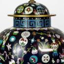 Antique Chinese Kuang Hsu Charcoal Cloisonne Table Lamps