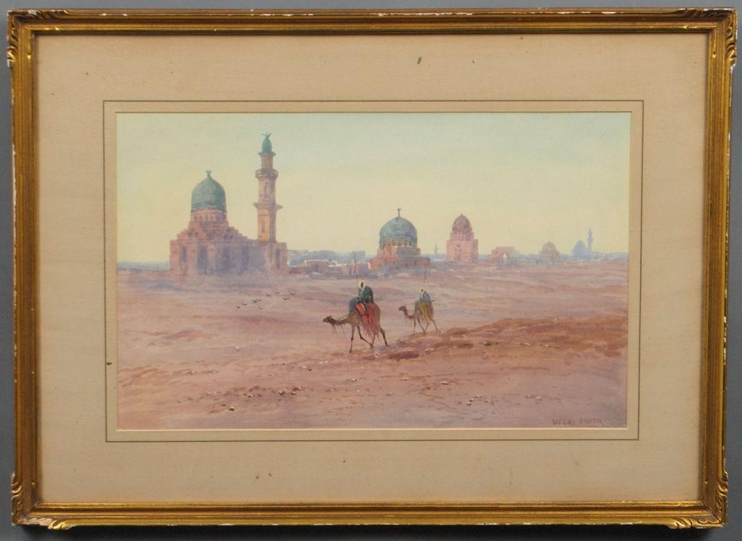 Orientalist Bedouin Arabs on Camelback Watercolor by Douglas Pinder