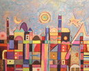 JUDIT BAK Abstract Cityscape Oil Painting