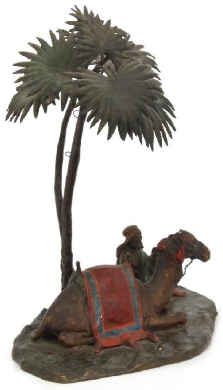 Antique Arab and Camel Orientalist Cold Painted Austrian Bronze Sculpture After Bergmann