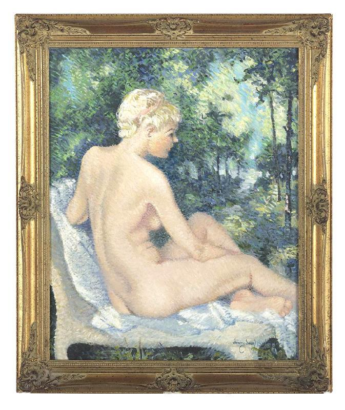 Franz Josef Bolinger (1903-1986) Female Nude Oil Painting
