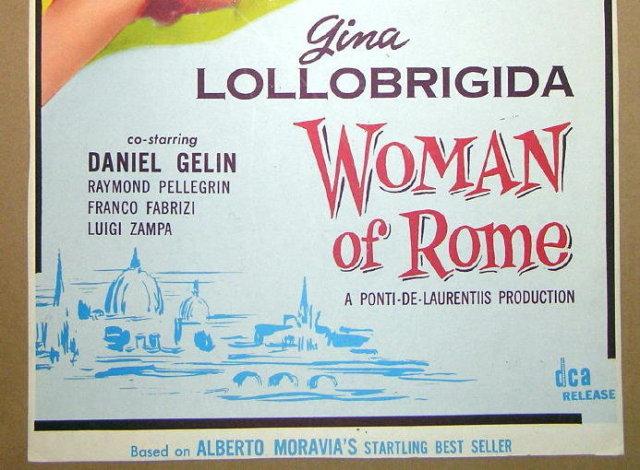 1956 WOMAN OF ROME Starring Italian Gina Lollobrigida 1 Sheet Movie Film Poster Board