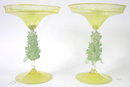 PAIR Golden Venetian Glass Compotes