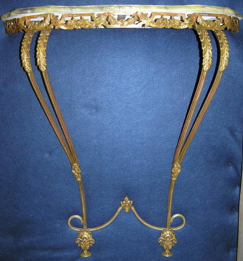 Neoclassical Onyx & Brass Wall Console Table