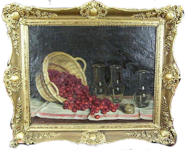 Cherries Cherry Basket Still Life Oil Painting