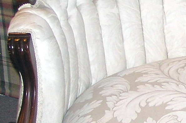 Victorian White Upholstered Settee Sofa