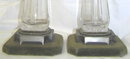 Pair English JHM Silver & Glass Oil Lamps