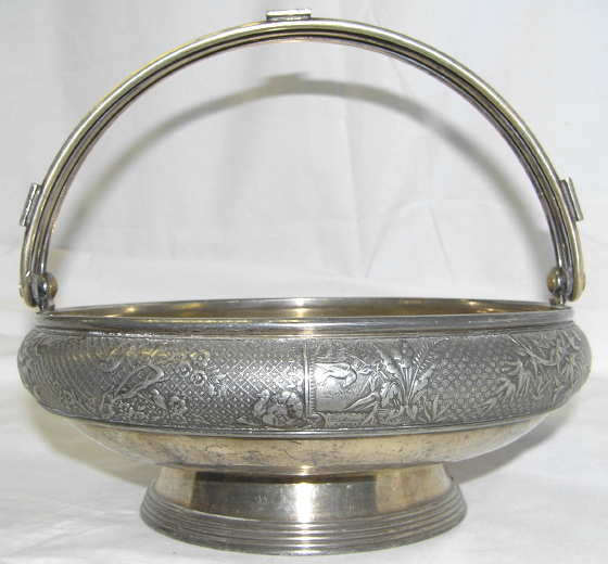 1886 Meriden Silverplated Handled Basket