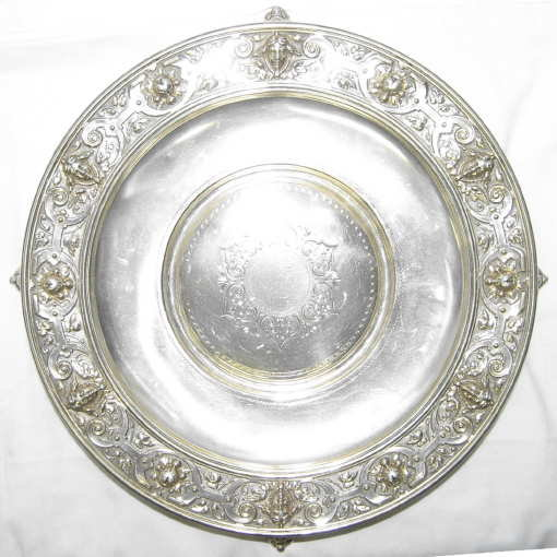 German Classical Repousse Silver Platter