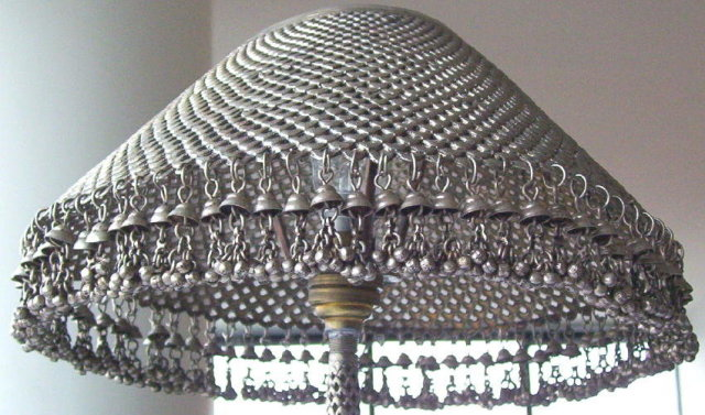 Vintage Fish Indian or Persian Silver Table Lamp with Fishes Motif