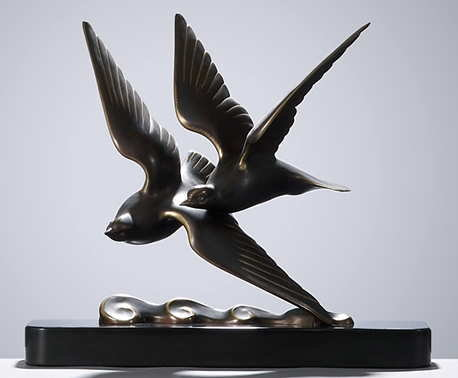 GANTCHEFF Art Deco Gulls on Wave Bronze