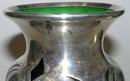 Art Nouveau Silver Overlay Green Glass Vase