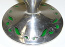 Art Nouveau Silver Overlay Green Glass Vase