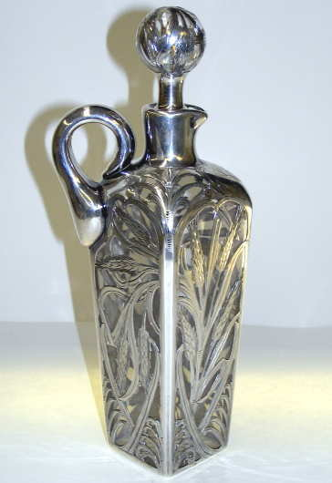 Antique Glass Whiskey Cruet w Silver Overlay