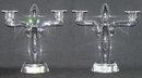 Pair Steuben Crystal Glass Candelabras