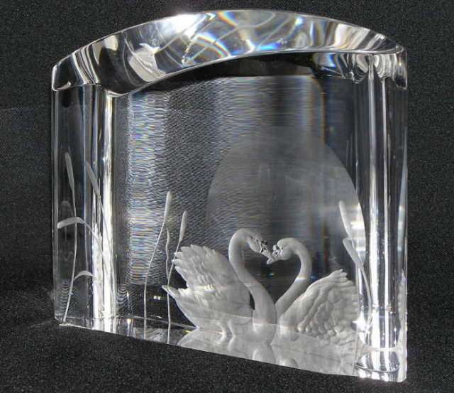 Steuben OUR LOVE Glass Swan Sculpture
