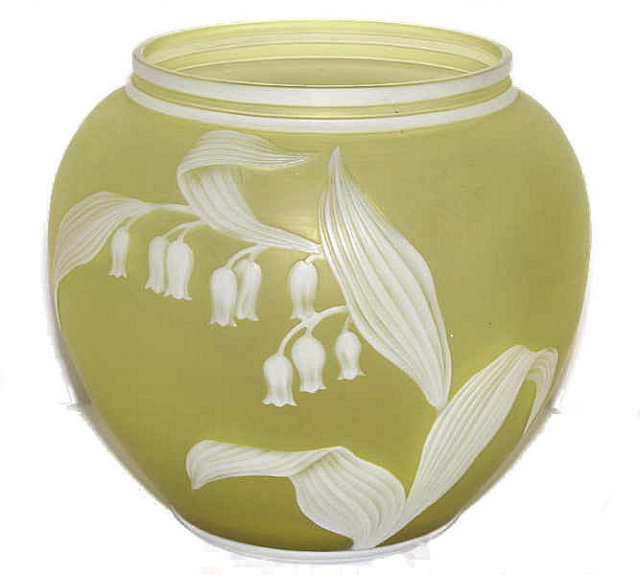 Webb Yellow/White Cameo Glass Vase