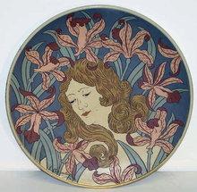 Art Nouveau Mettlach Stoneware Charger