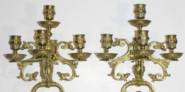 Pair Rennaissance Revival Candelabras