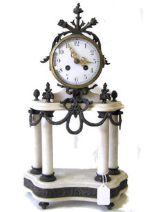 Marble Mantle Clock Candelabra Garniture Set