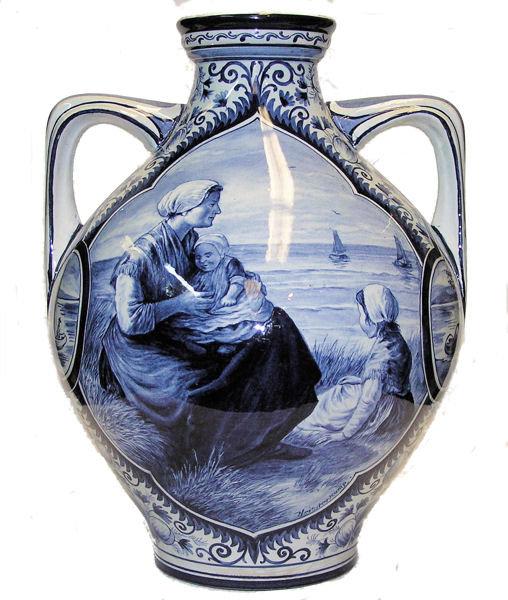 Antique HEISTERKAMP Delft 2-Handled Vase