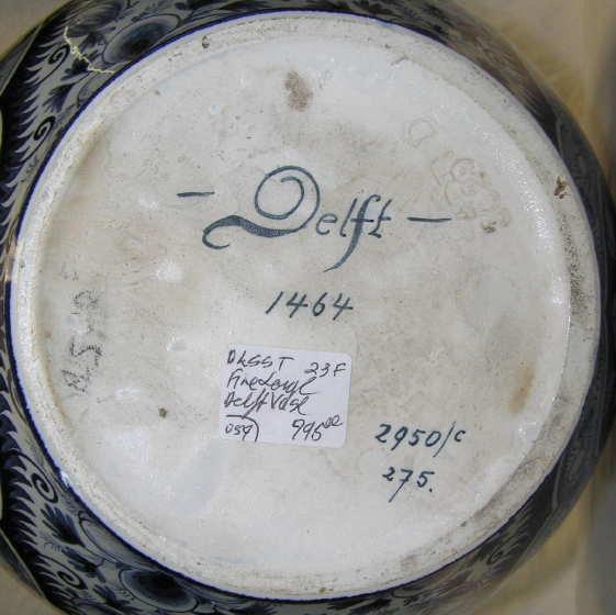 Antique Heisterkamp Delft Blue and White Handled Ceramic Vase