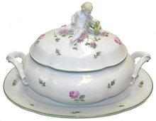 Augarten Wiener Rose Porcelain Tureen & Platter